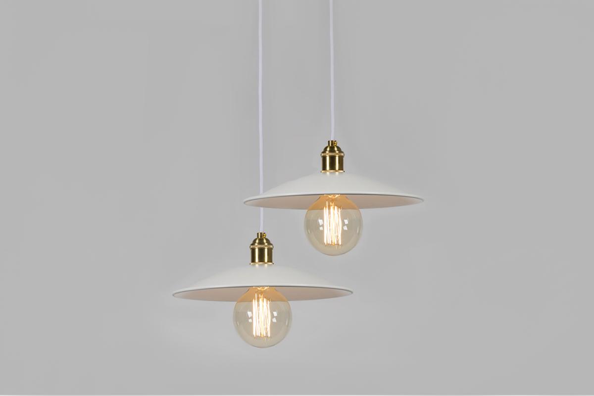 lampa biała złota wisząca