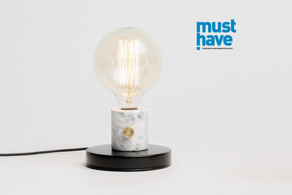lampa na stół marmur duża żarówka